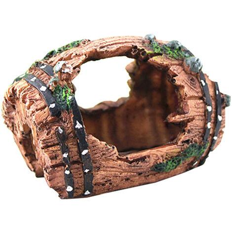Barriles acuario resina ornamento barril de vino acuario decoraciones del acuario artificial barril acuatica Cuevas Ocultar Hut, Brown