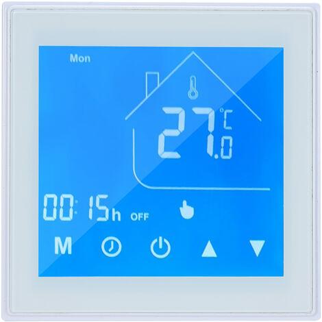 WiFi termostato inteligente Controlador de temperatura Display LCD programable para la Semana de la caldera de agua / gas Ewelink Control de aplicacion compatible con Alexa pagina principal de Google, blanca