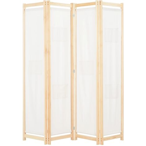 Biombo divisor de 4 paneles de tela color crema 160x170x4 cm