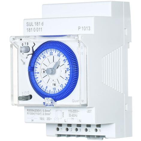 SUL181d 24 horas temporizador mecanico de 30 minutos Interruptor Intervalos de tiempo rele electrico temporizador programable 24 horas Interruptor para carril DIN Temporizador con 96 veces Off o On Time Set, blanca