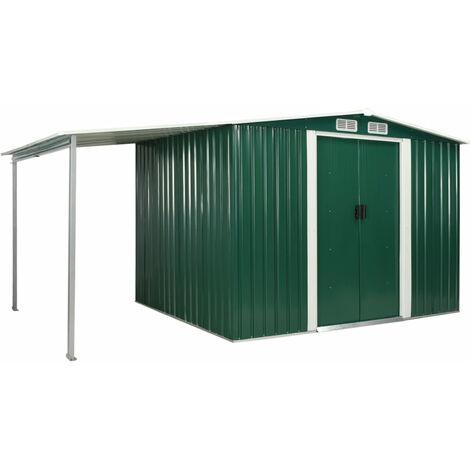 Cobertizo jardin puertas correderas acero verde 386x205x178 cm