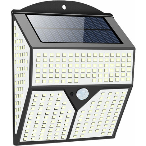 Lampara solar al aire libre Patio de induccion humana lampara de pared impermeable IP65 60©O area de iluminacion de luz blanca, Negro, 318LED