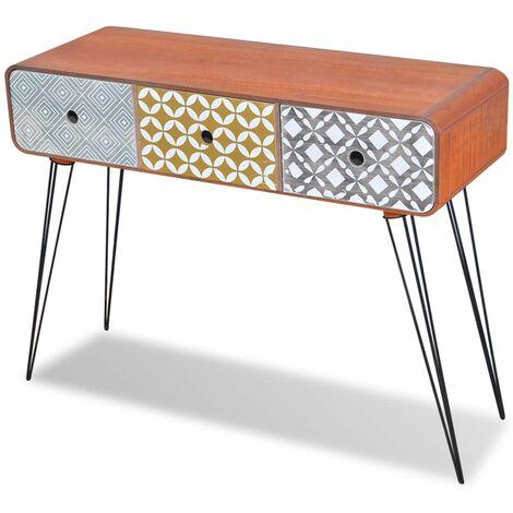 Mesa consola con tres cajones marron