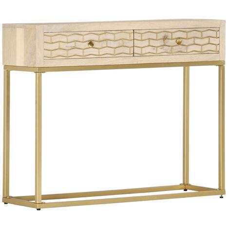 Mesa consola de madera maciza de mango dorado 90x30x75 cm