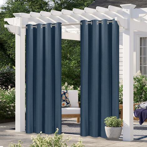 "Cortinas de pergola, cortinas opacas para patio al aire libre, para pergola porche,2 paneles, Azul oscuro, 52 ""Wx83"" L"