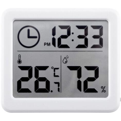 Higrometro digital de tiempo electronica LCD de Medidores de humedad Medidor de temperatura de pantalla retroiluminada cubierta termometro higrometro con soporte para el parachoques para Invernadero Jardin Bodega