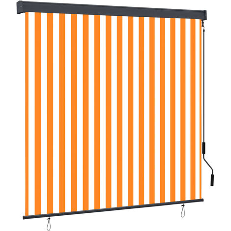 Estor enrollable de exterior blanco y naranja 170x250 cm