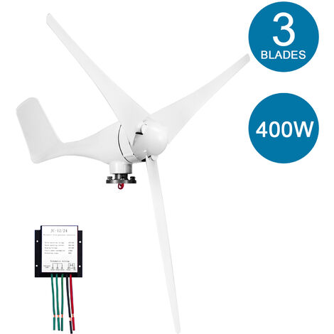 12V generador de viento 400W con la turbina del cargador del regulador 3 Cuchillas S-Type Minitype generador de viento Kit Claro molino de viento Energia para Barcos Inicio Carreteras, Blanco, 3 hojas