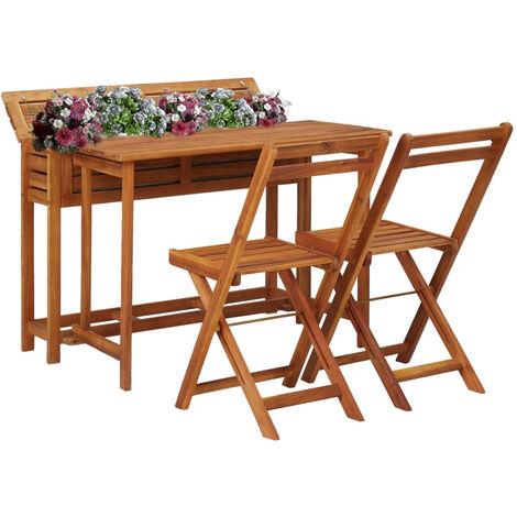 Mesa de bistro con 2 sillas y jardinera madera maciza de acacia