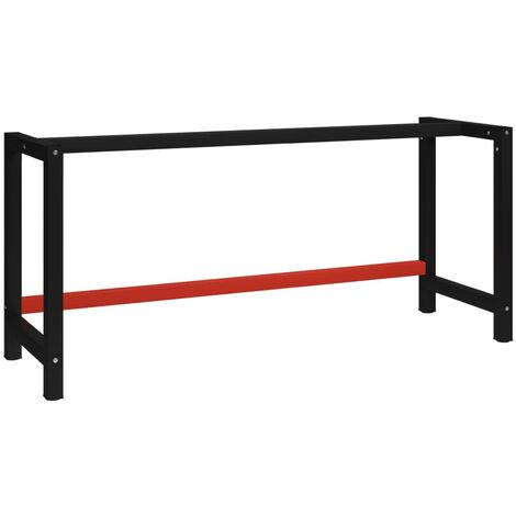 Estructura de banco de trabajo metal negro y rojo 175x57x79 cm