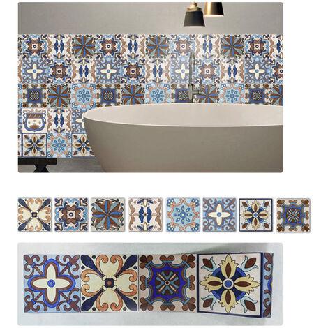 Azulejos pegatinas 1PC Retro Auto adhesivo impermeable de PVC desprendibles de la pared Las etiquetas engomadas DIY Fondos de Cocina Bano Casa Proteccion Ordenado, 1 #