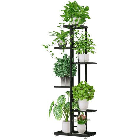 6-Tier estante de exhibicion del estante Macetas Planta soporte para macetas Escalera Planter soporte para trabajo pesado estanterias de almacenamiento en rack de plantas en maceta, gris oscuro