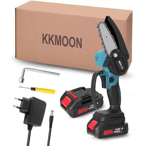 KKmoon 21V de 4 pulgadas portatil electrica poda-Saw 88VF pequeno bosque Spliting motosierra del motor del cepillo con una sola mano Herramienta de la carpinteria por un jardin Orchard, azul, enchufe de la UE, 2 pequenas baterias