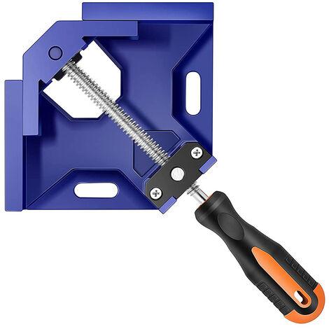 Abrazadera de angulo recto Abrazadera de esquina de aleacion de aluminio de una sola manija Mordaza oscilante ajustable Herramienta de abrazadera de clip de 90 grados Soporte de tornillo de banco para marco de fotos para carpinteria, Azul