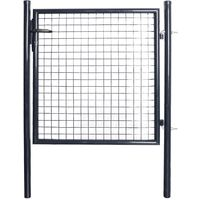 Puerta de malla de jardin acero galvanizado gris 85,5x100 cm