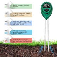 3 en 1 Medidor de pH digital luz del sol suelo medidor de humedad Detector de jardin de la planta