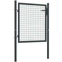 Puerta de malla de jardin acero galvanizado gris 100x125 cm