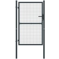 Puerta de malla de jardin acero galvanizado gris 100x200 cm