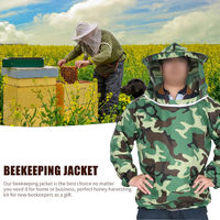 Apicultura chaqueta del juego de la abeja con la apicultura velo del sombrero con cremallera Profesional apicultor apicultura Traje de proteccion de las mangas del camuflaje de apicultura Ropa para Hombres Mujeres