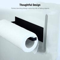 Montado en la pared de papel adhesivo Hierro sostenedor de la toalla rollo Organizador pared del metal de toallas de papel higienico Percha para el hogar Bano Cocina, Negro