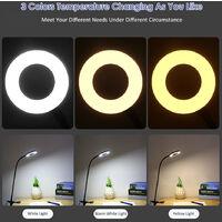 D C 5 V 6 W 24 LEDs USB Clamp Clip tabla del escritorio de la lampara de luz Powered Operado 3 colores cambio de temperatura Stepless y 10 niveles ajustables de brillo, Negro