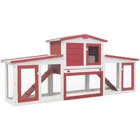 Jaula de animales grande madera rojo y blanco 204x45x85 cm