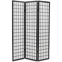 Biombo plegable con 3 paneles estilo japones 120x170 cm negro