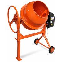 Hormigonera electrica de acero naranja 140 L 650 W