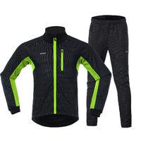 Los hombres en ropa de invierno De bicicletas Conjunto de manga larga Jersey Windstopper pantalones ciclo al aire libre de la bici con un pie Race Sport Activewear Chaqueta, Negro y verde, M