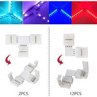 95pcs 5050 Kit de conectores RGB LED-Strip con forma de T en forma de L conexion Strip-Puentes-LED Banda Cable Accesorio Luz Terminal-Empalme Herramienta