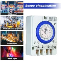 24 horas temporizador mecanico con bateria intervalos de 15 minutos Empuje El fracaso pernos no Potencia 100V-240V 15A Interruptor Tiempo para carril DIN Ideal para las luces LED CFL, blanca