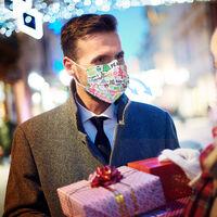 50PCS Navidad Mascarilla desechable boca cara mascara mascaras No Tejidos de 3 capas de mascara anti-polvo respirable para los hombres de las mujeres Regalo de navidad, blanca