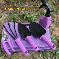Herramientas 5PCS ninos jardin conjunto con el Kit de herramientas de almacenamiento caja de jardineria Palas Paleta Transplantadora mano rastrillo de jardin pulverizador podadera, Verde