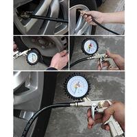 Auto Vehiculo Neumatico Neumatico Indicador de presion Tester herramienta de diagnostico 0-220PSI, 0-16 bar, Negro