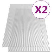 Paneles de policarbonato 2 unidades 6 mm 150x65 cm