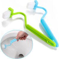cepillo de bano higienico de limpiar esquinas cepillo de tipo S cepillo de bano micro limpieza del bano cepillo azul, azul