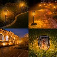 Paquete de 4 lamparas de llama solar con 51 LED, antorcha solar para exteriores con llama parpadeante, paisaje, IP65, luces decorativas impermeables, instalacion sencilla para patio, jardin, calle, negro, 51 LED, 4 unidades