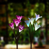 2pcs solares Luces de lirio de flores para jardin Patio del patio trasero Estaca lampara decoracion de jardin, blanca