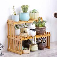 KKmoon Estante para plantas de bambu para encimera, 2 niveles, soporte para macetas de bambu, balcon, estante para flores, organizador de gabinetes, multifuncion, estante de almacenamiento de escritorio para bricolaje, 27 cm y 2 capas