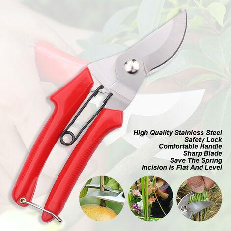 Acciaio inossidabile giardinaggio potatura cesoie, forbici asperata rami di albero di frutta, decorato con boccioli taglio, gomito impugnatura rossa