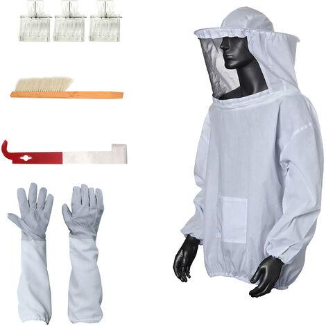Set da apicoltura 5 pezzi (abbigliamento anti-ape taglia M, guanti anti-ape, raschietto, spazzola per api, cacciatore di re * 3) BKT-005