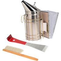 3 set di strumenti per l'apicoltura, spruzzatore di fumo, spazzola per api, raschietto