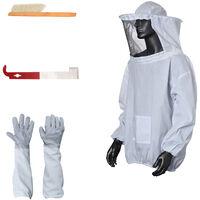 Set da apicoltura 4 pezzi (tuta da ape a mezza lunghezza, guanti anti-ape, raschietto, spazzola per api) BKT-015