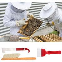 Set di strumenti per apicoltura in 3 pezzi: forchetta da taglio per miele, spazzola per api, raschietto BT-096