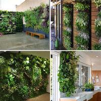 7 tasche appeso a parete piantare borsa verticale appeso a parete borsa crescere fioriera da giardino fiorito, nero