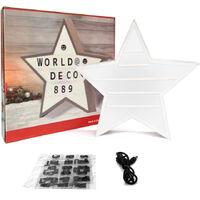 WX-884 scatola luminosa a stella a cinque punte con 96 lettere, doppio uso con cavo USB (senza batteria)