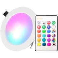 Faretto da incasso a LED da 10W con telecomando IR Faretto da soffitto a 16 colori e 4 modalita lampeggianti Dimmerabile RGBW che cambia colore,Luce 10W + telecomando