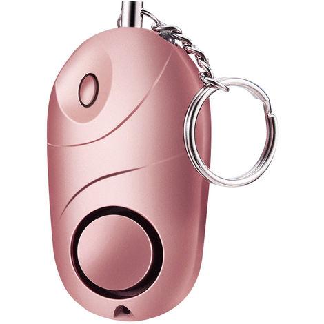 Personlicher Alarm 120-130Db Safe Sound Notfall Notwehr-Sicherheits-Warnung Schlusselanhanger Led-Taschenlampe Fur Frauen-Madchen-Kinder Alter Explorer, Rosa, 1 Packung