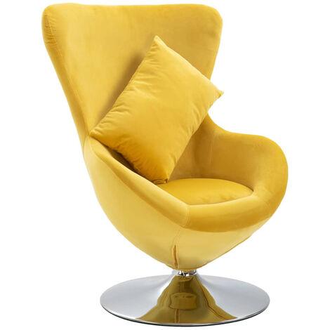 Drehstuhl In Ei-Form Mit Kissen Gelb Samt