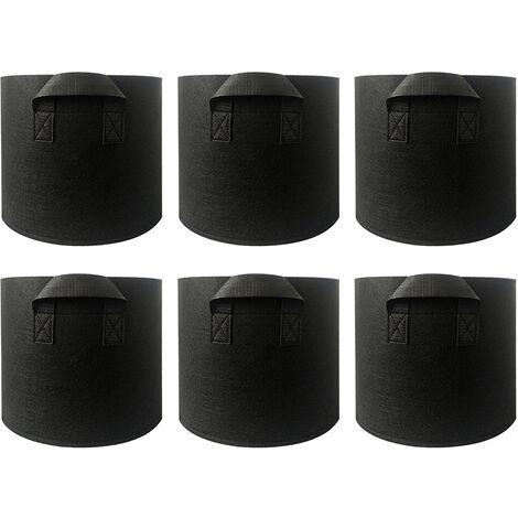6 x 5 Gallonen schwarze nicht gewebte Pflanzentaschen mit Gartengriff